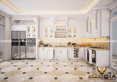 Tổng hợp 10 mẫu tủ bếp gỗ sồi sơn trắng đẹp đầy thanh lịch
