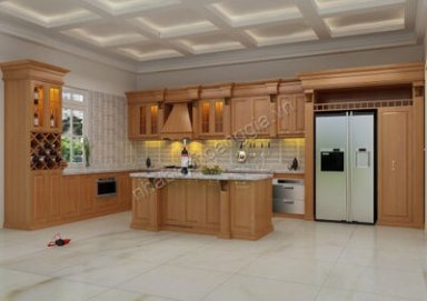 Mẫu tủ bếp đẹp gỗ tự nhiên 01
