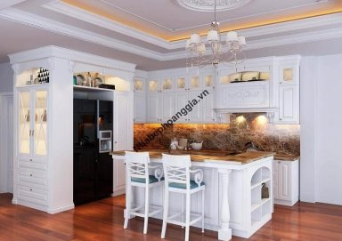 Mẫu tủ bếp gỗ tự nhiên sơn trắng 01