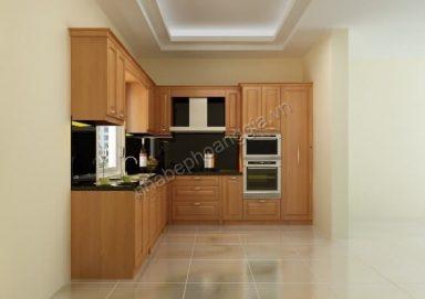 Mẫu tủ bếp hiện đại gỗ tự nhiên 02