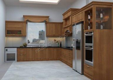 Mẫu tủ bếp tân cổ gỗ tự nhiên 04
