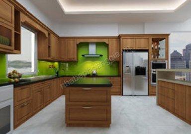 Mẫu tủ bếp gỗ tự nhiên 03