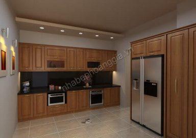 Mẫu tủ bếp hiện đại gỗ tự nhiên 07