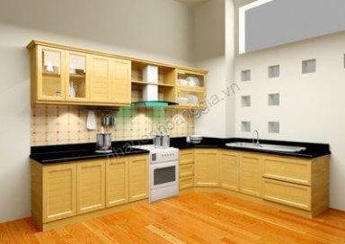 Mẫu tủ bếp gỗ sồi tự nhiên 08