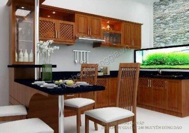 Mẫu tủ bếp gỗ tự nhiên 09