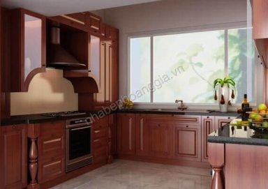 Mẫu tủ bếp gỗ hương tự nhiên 12