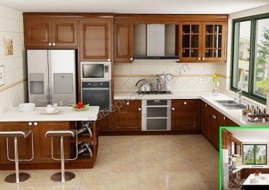 Mẫu tủ bếp hiện đại gỗ tự nhiên 13