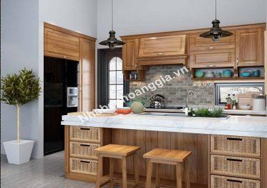 Mẫu tủ bếp gỗ sồi tự nhiên 14