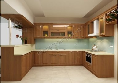 Mẫu tủ bếp đẹp chất liệu gỗ tự nhiên 16