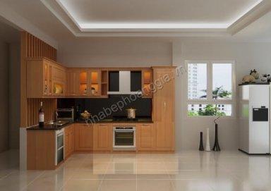 Mẫu tủ bếp hiện đại gỗ tự nhiên 17