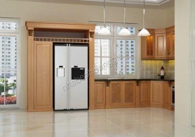Mẫu tủ bếp đẹp gỗ tự nhiên 19