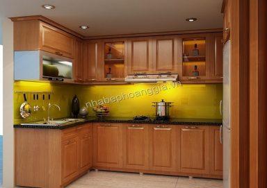Mẫu tủ bếp hiện đại gỗ tự nhiên 21