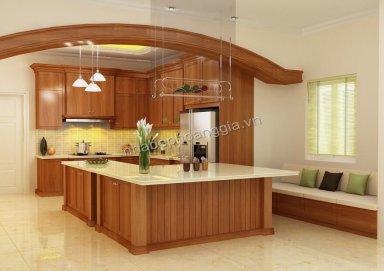 Mẫu tủ bếp hiện đại gỗ tự nhiên 22