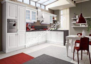 Mẫu tủ bếp sơn trắng gỗ tự nhiên 23