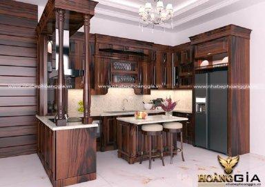 Mẫu phòng bếp đẹp với chất liệu gỗ cẩm tự nhiên
