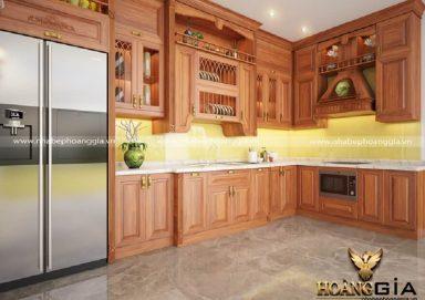 Mẫu bếp tân cổ điển gỗ gõ tự nhiên sang trọng đầy ấm cúng