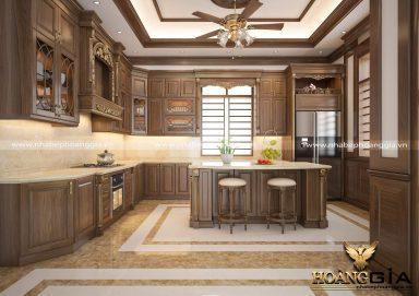 Mẫu tủ bếp tân cổ điển cao cấp cho không gian nhà biệt thự