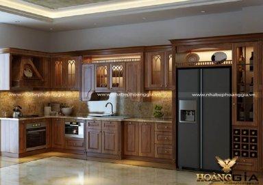 Mẫu phòng bếp gỗ tự nhiên gam màu nâu socola trầm ấm