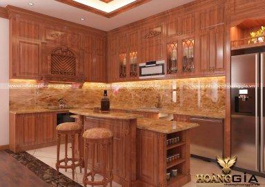 Mẫu tủ bếp gỗ gõ tự nhiên sơn PU 33