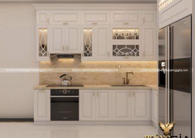 Mẫu tủ bếp gỗ tự nhiên sơn trắng hiện đại sang trọng