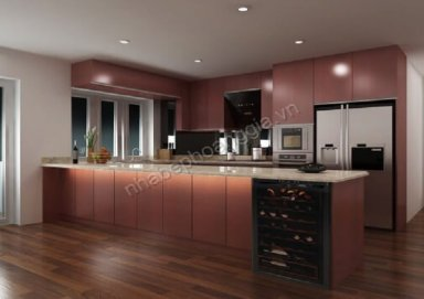 Mẫu tủ bếp gỗ Lamilate 03