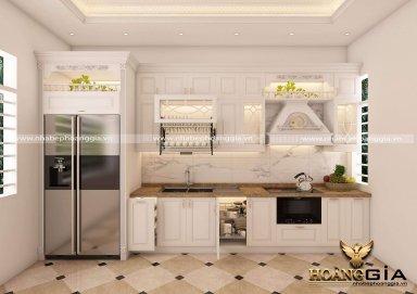 Mẫu tủ bếp tân cổ sơn trắng cho không gian nhỏ