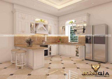 Mẫu tủ bếp gỗ tự nhiên sơn trắng đầy ấn tượng cho nhà phố