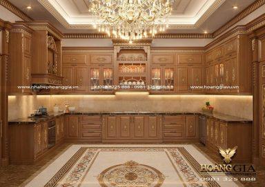 Mẫu tủ bếp tân cổ điển cao cấp xứng tầm với nhà biệt thự sang trọng