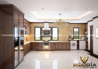 Thiết kế tủ bếp gỗ gõ tân cổ điển nhà chú Tuấn (Hà Nội)