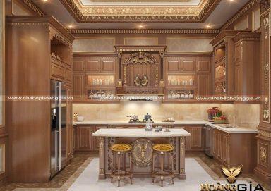 Tham khảo mẫu tủ bếp tân cổ điển dát vàng đầy đẳng cấp