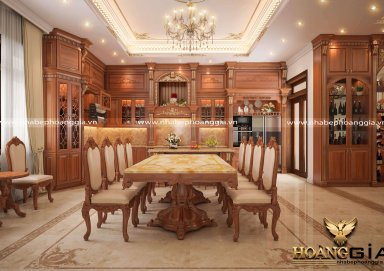 Mẫu tủ bếp tân cổ dát vàng sang trọng nhà chị Mỹ