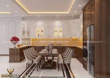 Mẫu thiết kế tủ bếp tân cổ điển đẹp nhà chị Kim Chi (Bắc Giang)