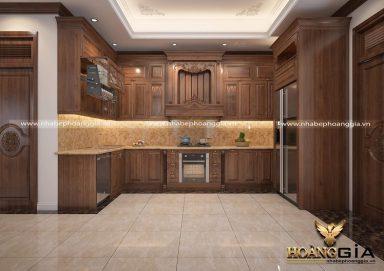 Mẫu thiết kế tủ bếp đẹp phong cách tân cổ điển cho nhà phố