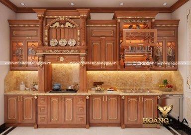 Mẫu tủ bếp gỗ gõ tân cổ điển đầy sang trọng cho nhà anh Bình