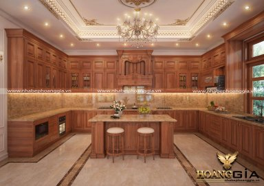 Mẫu thiết kế tủ bếp tân cổ điển gỗ gõ đầy sang trọng và ấm cúng