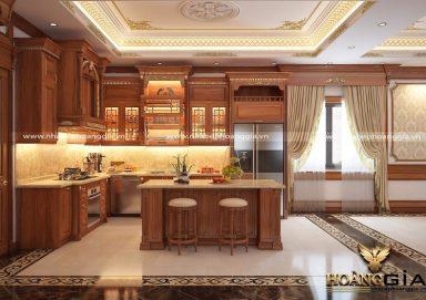 Sang trọng với mẫu tủ bếp gỗ gõ đỏ tân cổ điển cao cấp