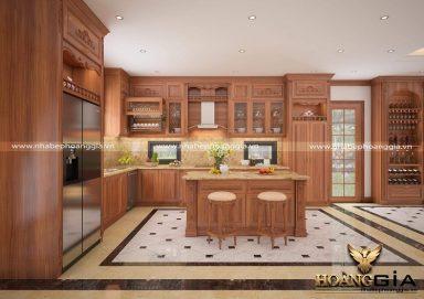 Mẫu thiết kế tủ bếp gỗ tân cổ điển cao cấp cho nhà biệt thự
