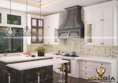 Thiết kế tủ bếp phong cách tân cổ điển phối màu trắng – đen đầy ấn tượng