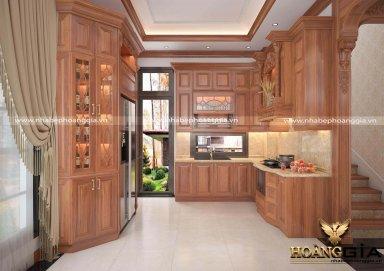 Mẫu tủ bếp đẹp tân cổ điển nhà anh Công (Hải Phòng)