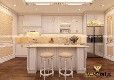 Mẫu tủ bếp đẹp phong cách tân cổ điển sơn trắng
