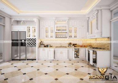Mẫu tủ bếp gỗ tự nhiên sơn trắng phong cách tân cổ điển nhẹ nhàng